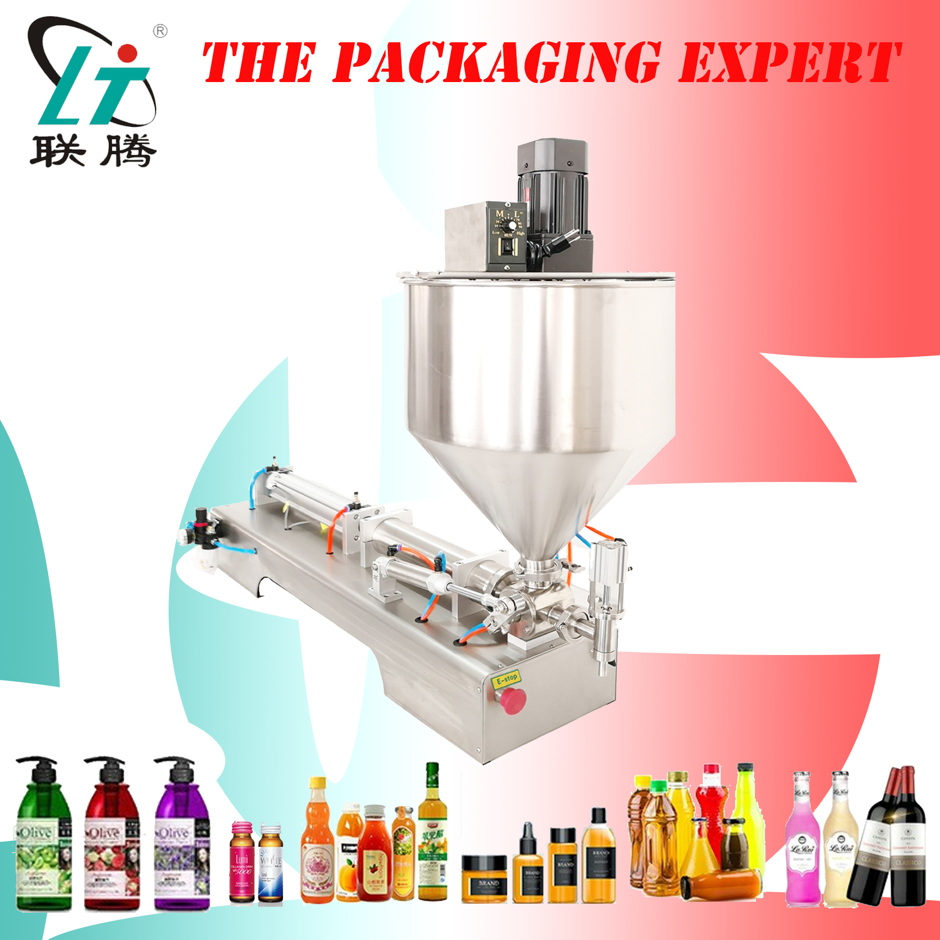 Mixing Stirring Hopper Filling Machine Sauce Paste Filler Jam Chilli Chocolate Peanut Butter Cream Lotion Honey Free Shipping