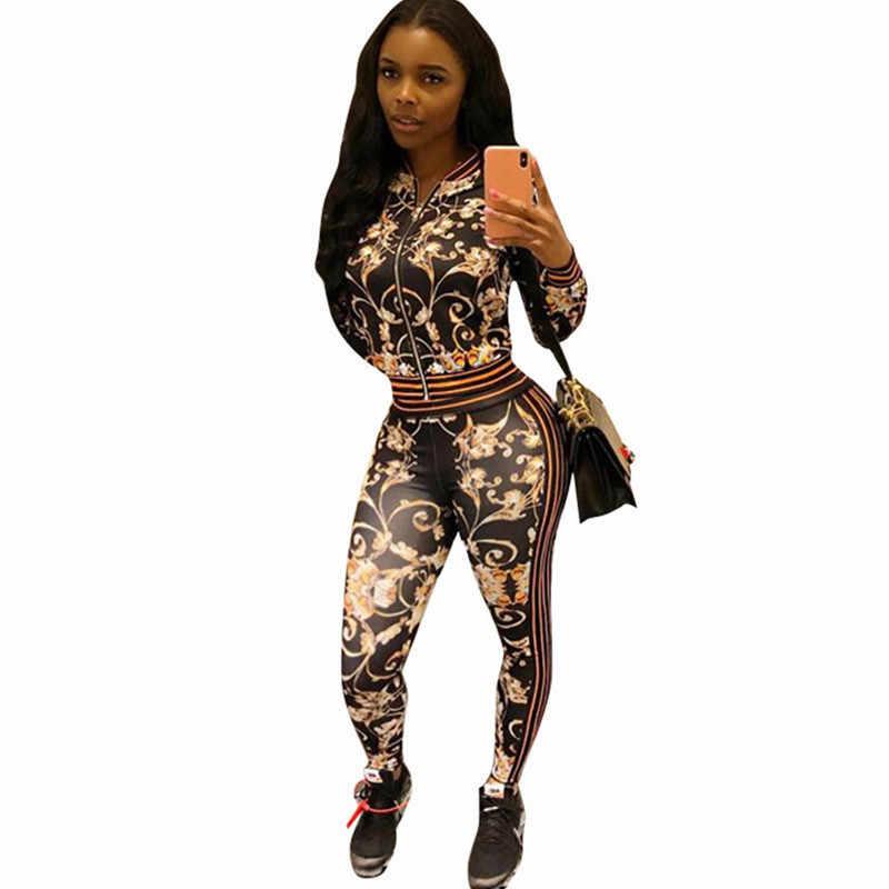 Kadın sonbahar kış rahat eşofman baskı iki parçalı setleri uzun kollu fermuar bombacı ceket ve pantolon spor takım elbise spor