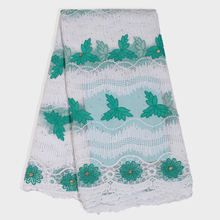 Newest African Lace Fabric High Quality Net French Tulle Hot-fix Embroidery Leaf for Nigerian Women Dress