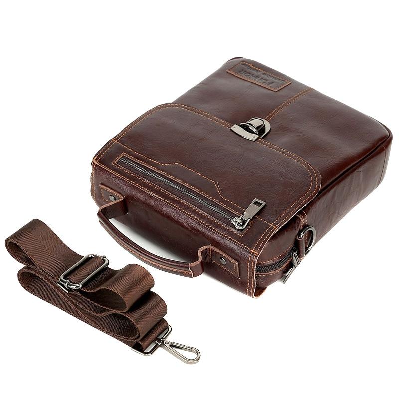Men Genuine Leather Vintage Buckle Shoulder Bag Satchel Crossbody Bag -OPK