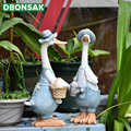 بطة الحلي الراتنج الاصطناعي بطة حديقة النحت الحيوان تمثال زوجين الديكور محاكاة بركة ديكور المشهد الحرف