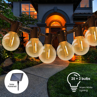 Tomshine-tira de luces LED G40 alimentadas por energía Solar, 7,62 m/25 pies, 25 enchufes, 27 bombillas, luz solar colgante de hadas IP45 para jardín