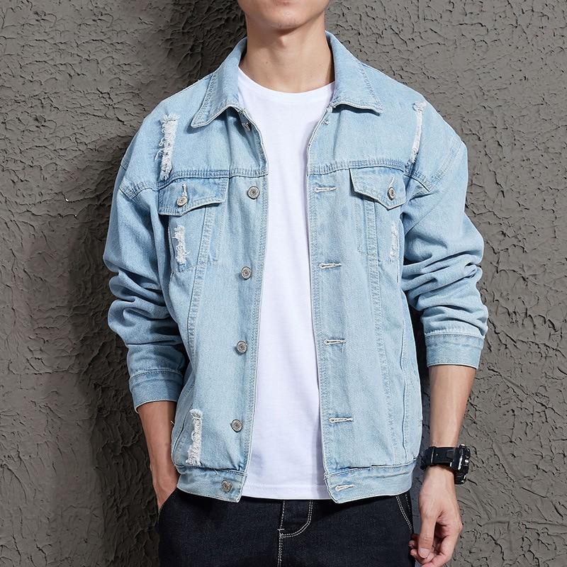 2019 Men\s Fashion Slim  Denim Jacket Casual Bomber Hip Hop Retro Streetwear