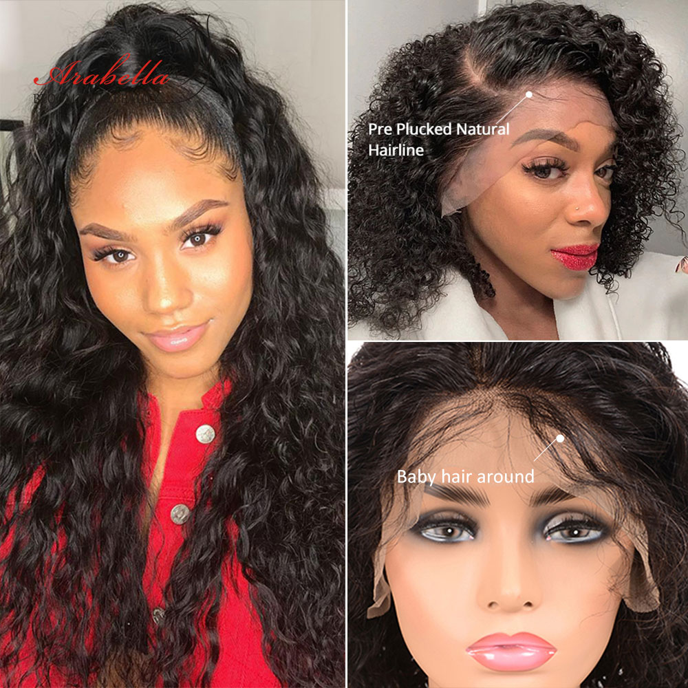 Deep Wave Closure Wig 100%  Wigs With Baby Hair Lace Frontal Wig Arabella  Lace Closure Wig Deep Curly 5