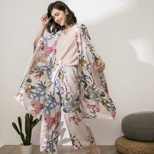 Women Pajamas Sets Autumn Butterfly Floral Printed Elegant 4 Piece Pyjamas Set Viscose Female Night Suits Pyjamas Sets 2021