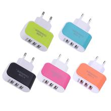 2 Pcs 3 USB Port EU Charger Atapter Interface Built-in Smart Auto IC With LED Light Wall Home Travel AC