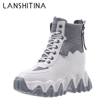 New Winter Boots Women High Platform Sneakers 7CM Height Increasing Ankle Boots Thick Sole Casual Fur Shoes Woman Chunky сапоги tuinanle chunky sneakers high heel 10 cm women autumn thick bottom platform sneakers height increasing woman silver casual shoes