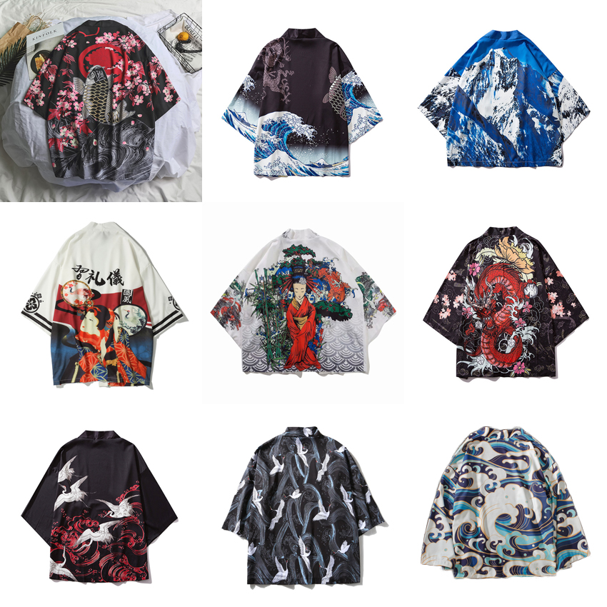 Samurai Crane Japanese Style Kimono Haori Men Women Cardigan Chinese Dragon Traditional Japanese Clothing Asian Clothes 2XL/3XL