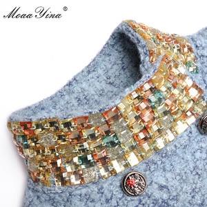 Image 4 - MoaaYina Fashion Designer Wool Woolen coat Winter Women Long sleeve Stand collar Diamond Elegant Keep warm Woolen coat Overcoat