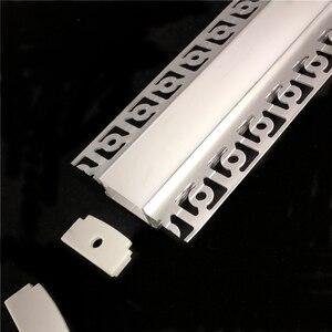 Image 5 - 5 30 adet/grup 2m 80 inç led lineer striip konut alçı kurulu gömülü led alüminyum profil, çift sıra 20mm bant işık kanalı