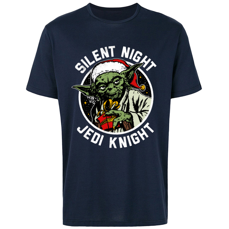 Silent Knight T-Shirt Men <font><b>Star</b></font> <font><b>Wars</b></font> T Shirt Merry <font><b>Christmas</b></font> Santa Claus Master Yoda <font><b>Tshirt</b></font> Rebel Jedi Tops Tees Funny Designer image