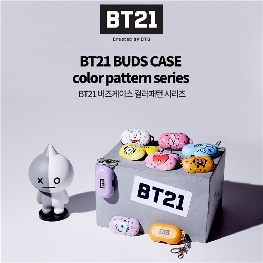 PVC Earphone Protective Case Cover For Samsung Galaxy Buds Bluetooth Wireless Earphone Case BT21 With Key Rings Photo Card