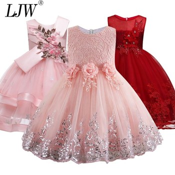 2020 Lace Sequins Formal Evening Wedding Gown Tutu Princess Dress Flower Girls Children Clothing Kids Party For Girl Clothes 1