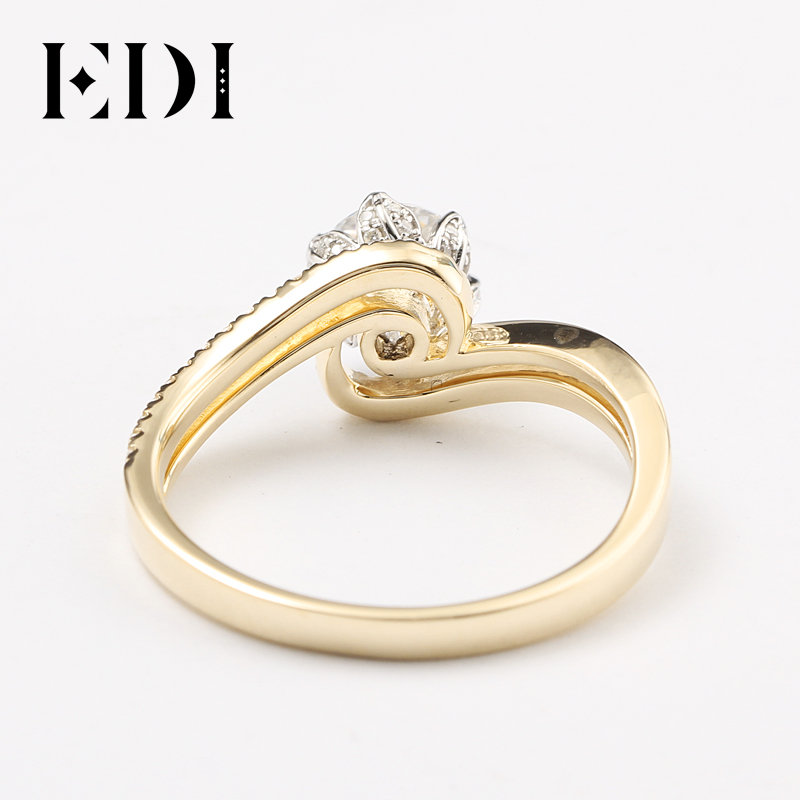 EDI Customized Jewelry Beauty and The Beast Rose Design Engagement Ring 14K Solid Yellow Gold 1CT DEF Moissanite Diamond Accents-in Rings from Jewelry & Accessories    2