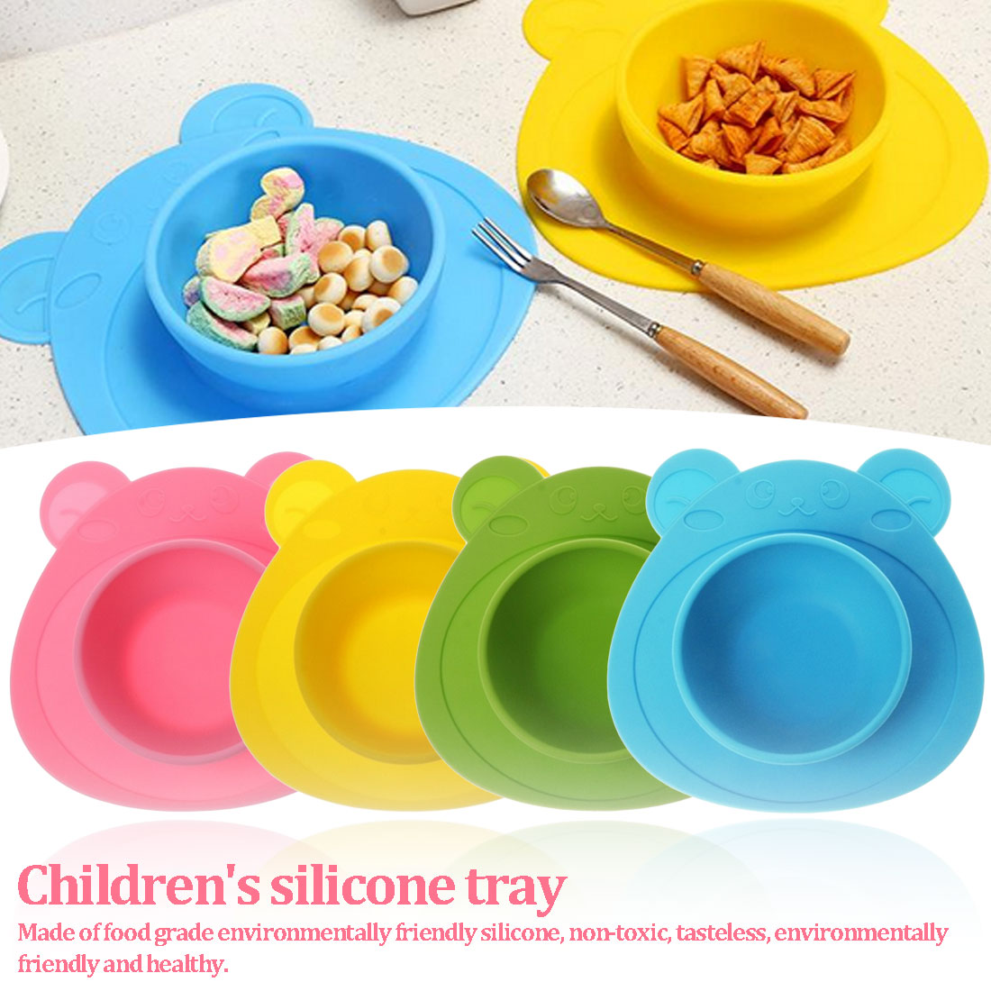 Kids Children Baby Plate 100% Silicone Dishes Bowl With Suction Cup Silicone Feeding Food Plate Tray Dishes For Baby