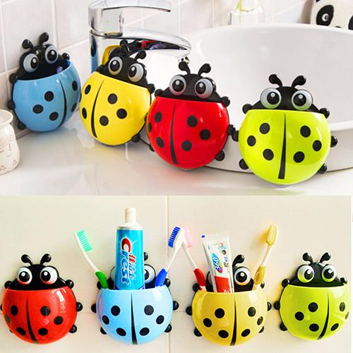 Hot Lovely Ladybug Toothbrush Holder Suction Ladybird Toothpaste Wall Sucker Bathroom Sets Household Bathroom Supplies image