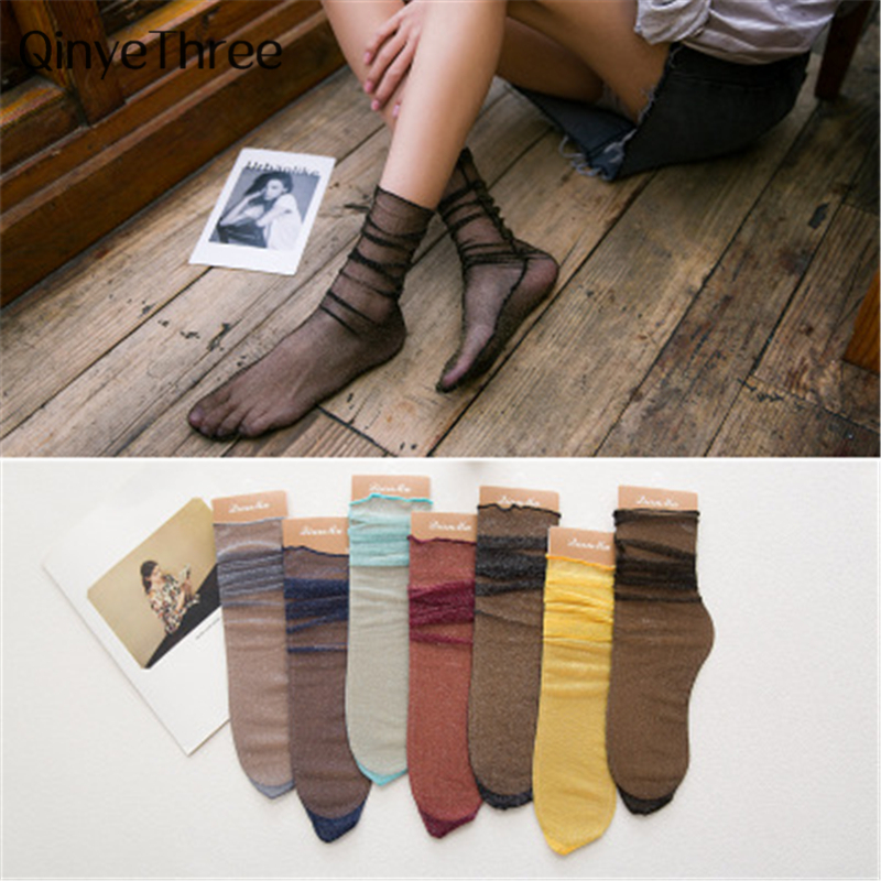 2018 New Fashion Thin Light Gold Silver Socks Transparent Literary Retro College Wind Socks For Campus Students Young Ladies