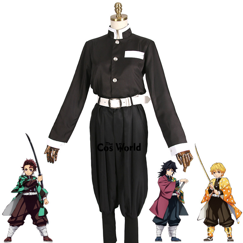 Demon Slayer: Kimetsu No Yaiba Kamado Tanjirou Agatsuma Zenitsu Tomioka Giyuu Team Uniform Anime Customize Cosplay Costumes