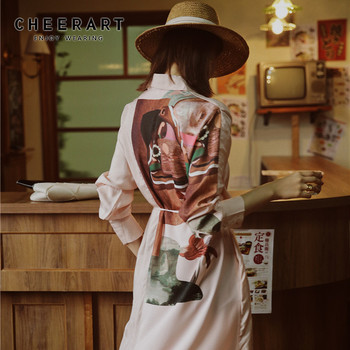 Low Price CHEERART Pink Long Shirt Dress Women Long Sleeve Autumn Print Tunic Floral Silk Dress Button Up Ladies Desses Clothing — stackexchange