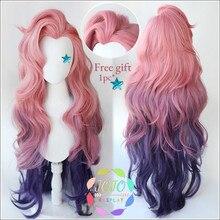 Jogo lol seraphine rosa roxo gradiente ondulado longo cosplay resistente ao calor do cabelo sintético carnaval festa de halloween + peruca livre boné