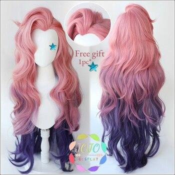 Gra LOL Seraphine różowy fioletowy Gradient falisty długi Cosplay żaroodporne włosy syntetyczne karnawał impreza z okazji Halloween + darmowa peruka Cap