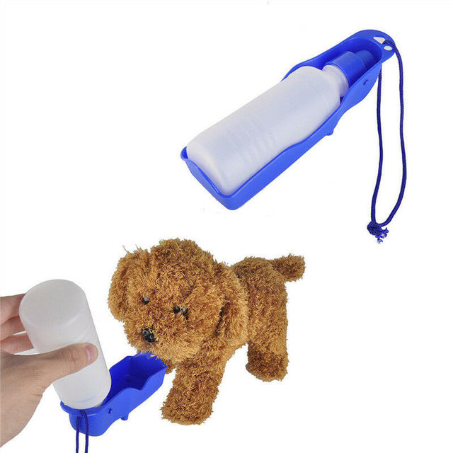 Pet Dog Cat Portable Plastic Feeding Bowl Travel Water Bottle Dispenser Feeder Cat And Dog Drinker