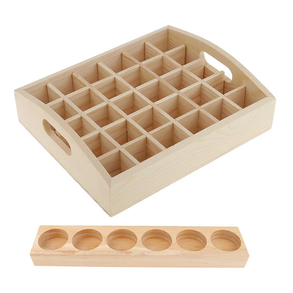 2 sztuk drewniane niezbędne butelka oleju przechowywania wyświetlacz stojak na obudowę uchwyt perfumy makijaż aromaterapia fiolki organizator półka