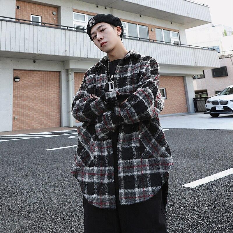 Клетчатая Шерстяная Куртка мужская мода ретро повседневное шерстяное пальто Мужская Уличная Хип-хоп свободные шерстяные куртки Мужская