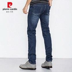 Pantalones vaqueros de pierna recta simples para hombre, de primavera y otoño 2018, para hombre, pantalones elásticos ajustados, de corte Cardin, azul oscuro