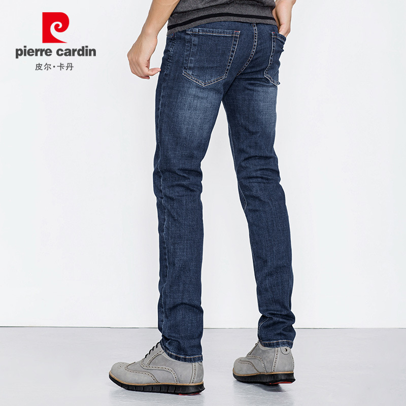 Pierre Cardin 2018 Spring And Autumn New Style Jeans Men's Simple Straight-leg Pants Cardin Slim Fit Stretch Pants Dark Blue