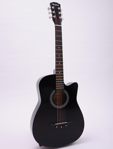 Image 2 - 38/41 inch Acoustic Guitar Folk Guitar for Beginners 6 Strings Basswood with Sets Black White Wood Brown Guitar AGT16