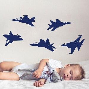 5 шт., наклейка на стену самолет, детская комната, детская комната, военный пилот, ВВС, струя, наклейка на стену, спальная, игровая, виниловая