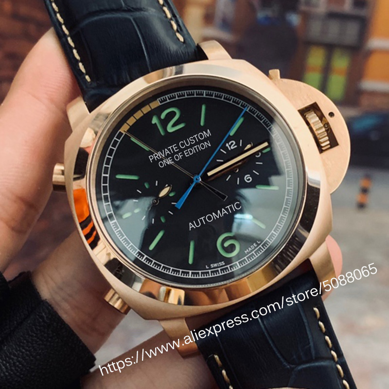 Automatic Mechanical Watch Men's 44mm Leather Strap Luminous Military Waterproof Watch Men