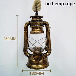 Image 4 - Vintage pendant lights hang lamp E27 hemp rope lantern kerosene retro pendant lights hanging lamp industrial Indoor home decor