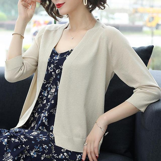 PEONFLY Fashion 2020 Spring Sweater Women Shinny Solid Color Knitted Cardigans Casual Long Sleeve Coat V Neck Women Jumper Blue 2