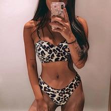 Maillot De Bain brésilien Sexy imprimé léopard, soutien-gorge Push Up, Bandeau, ensemble deux pièces, pour femmes, vêtements De plage, 2021