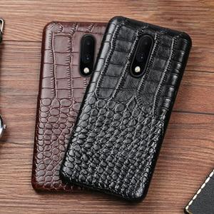 Image 4 - Echtes leder Telefon Fall Für Oneplus 6 6T 7 7 Pro Natürliche Rindsleder Luxus Krokodil Textur Zurück Abdeckung fundas capa