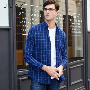 UCAK Brand Cotton Shirt Men 2019 New Arrival Streetwear Fashion Plaid Business Casual Shirts Long Sleeve Camisa Masculina U6002
