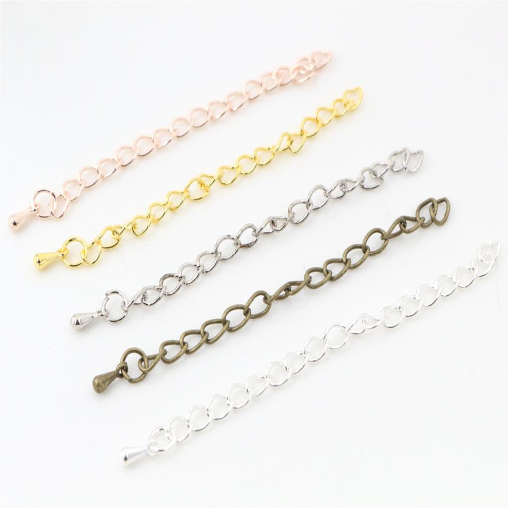 20pcs/lot 50mm/70mm 5*4mm Tone Extended Extension Tail Chain Necklace Tail Chain Connector Findings For Bracelet Base Tray