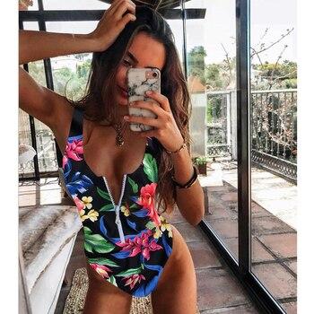 New Sexy Zipper One Piece Swimsuit Women Swimwear Push Up Monokini Bodysuit Swimsuit Print Bathing Suit Summer Beachwear XL 18