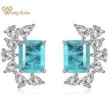 Wong-boucles d'oreilles Vintage en argent Sterling 100%, pierres précieuses, Paraiba Tourmaline, diamants, clous d'oreille, bijoux fins, idée cadeau, vente en gros, 925