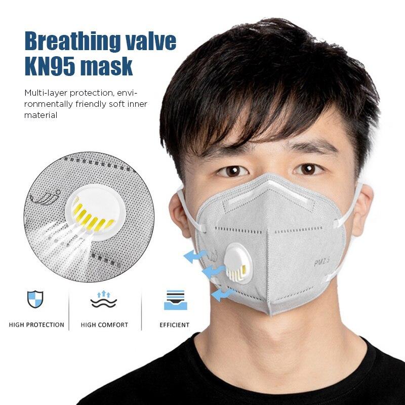 10PCS 95% Filtration KN95 Masks Valved Face Mask N95 Anti-Fog Dust Mask N95 Respirator Child Adult Mask PM2.5 Filters Dust Proof
