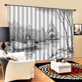 grey scenery curtains Window Blackout Luxury 3D Curtains set For Bed room Living room Office Hotel Home Wall Decorative