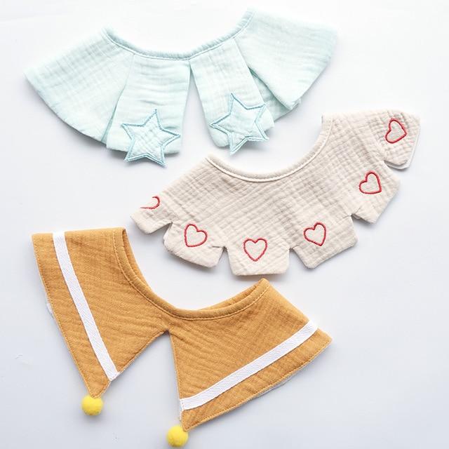 Ensemble 3 pièces de Style nordique | Bavoir pour bébé en gaze de coton, bavoir pour bébé en tissu, salive serviette broderie faux col, accessoire décoratif
