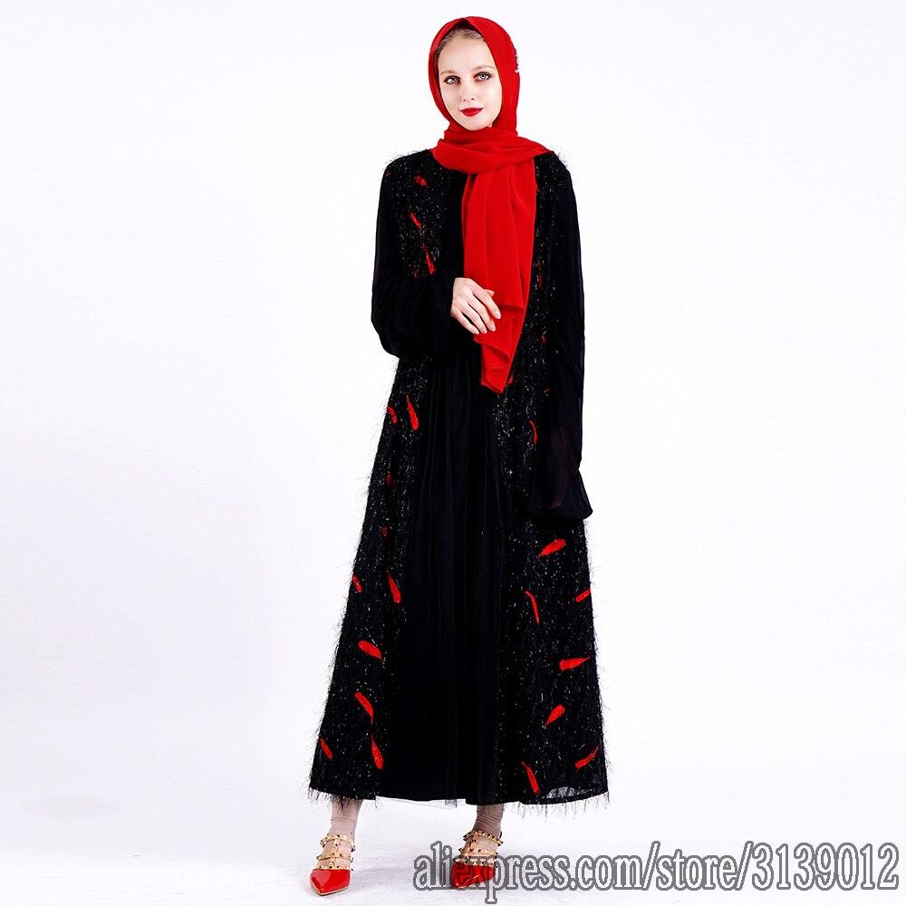 Open Abaya Dubai Kimono Kaftan Islam Hijab Muslim Dress Caftan Turkish Islamic Clothing Abayas For Women Eid Mubarak Cardigan