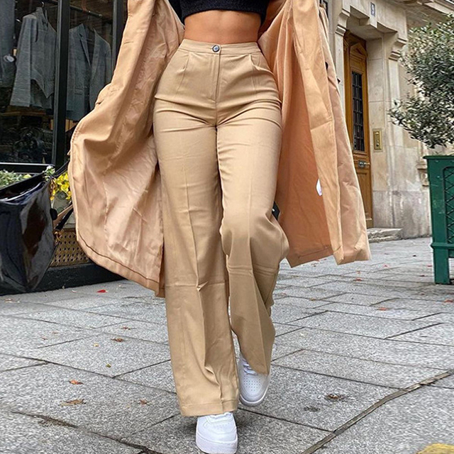 Streetwear Khaki Wide Leg Women Pants Casual Loose High Waist Flared Pants Ladies Long Trousers Pantalon Cargo Femme 2