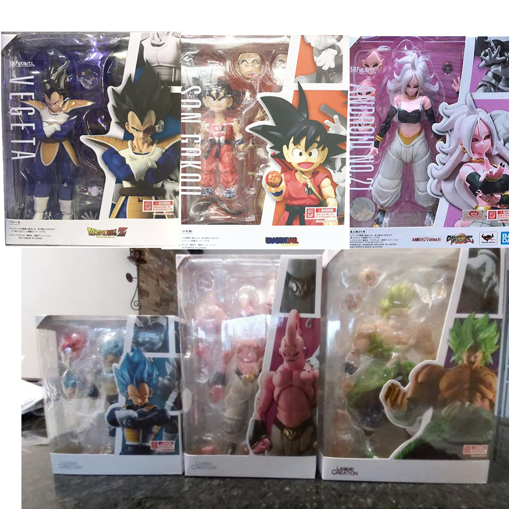 SHF Dragon Ball Figure Super Saiyan Son Gokou Goku Android Trunks Majin Buu Vegeta Figuarts Dragon Ball Brloy Action Figure Toy