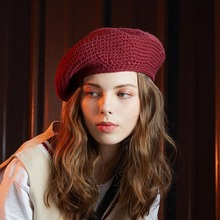 Korean Version Fashion Women Solid Berets 2019 New Autumn Winter Casual Handmade Wool Warm Knitted Pink Black Red Sweater Cap