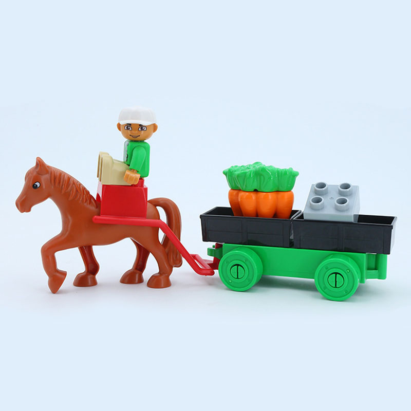 Building Blocks Set Farmer Carriage Big Size Diy Building Blocks Accessories Duploed Bricks Toys For Children Gif