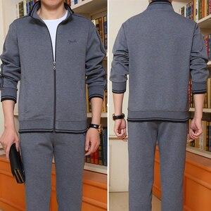 Image 3 - Mens Sportswear Two Piece Set 2020 Autumn New Casual Tracksuit Stand Zipper Gray Sweatshirt Sweatpant Survetement Homme